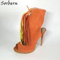2017 Women Boots Fringe Plus Size Ladies Party Boots Botte Femme Ankle Boots For Women Peep