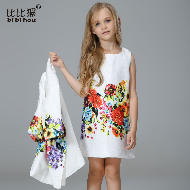 2piece/set Summer designer kid Dresses For Girl dress+ coat Butterfly Flower Printed Formal Girl Dresses Teenagers Party Dress girl dress 2017 summer girls style fashion sleeveless printed dresses teenagers party clothes party dresses for girl 12 20 years