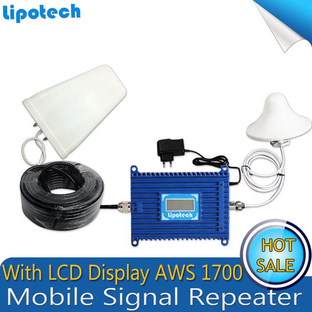 1 conjunto de 3G/4G Ripetitore LCD AWS 1700 MHZ Sinal Do Telefone Móvel Impulsionador celular Repetidor de Sinal/receptores Amplificador de Telefone Celular