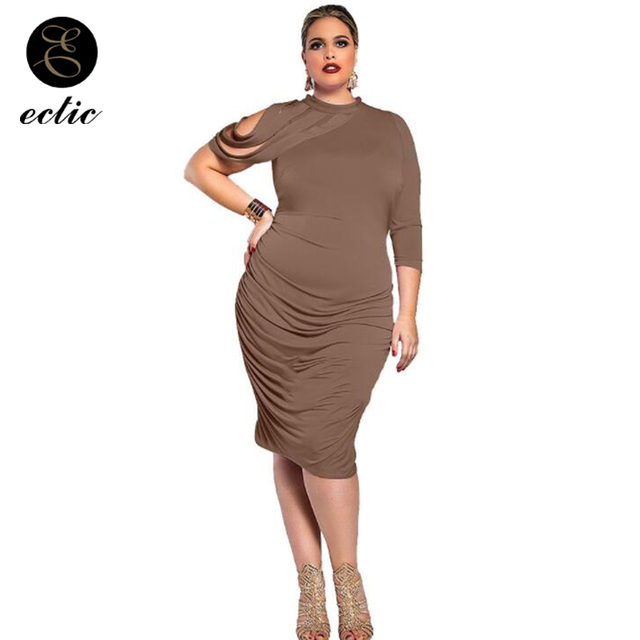 Brown Gown De Fiesta Sukienka Women Plus Size Xl 5xl Robe Femme Ete 2018  Formal Midi Dress With One Sleeve Shirred Dress Frill 9497a91c3658