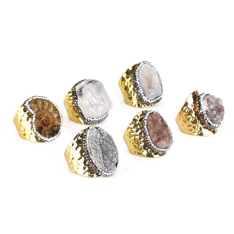 Silver Gold Color Big Multi Onyx Druzy Stone Charm Rough <font><b>Raw</b></font> Druzy <font><b>Crystal</b></font> Hammered Adjustable Open <font><b>Ring</b></font> Cuff For Women Man image