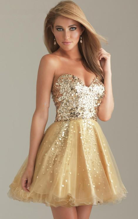 Gold Sequin Cocktail Dresses - Ocodea.com