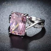 Женское кольцо серебристого цвета с розовым фианитом