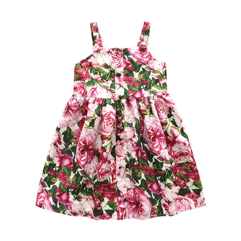 Baby Girls Dress Brand Summer Beach Style Floral Print Party Sleeveless Dresses For Girls Toddler Girl Clothing 3-8Years 2017 summer girls dresses toddler baby girl ruffle floral sleeveless dress sundress briefs bottom 2pcs set flower girls dresses