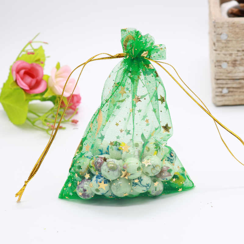 Hot sale 100pcs/lot Moon Star Organza Bags 7x9 9x12cm Small Christmas Drawstring Gift Bag Charm Jewelry Packaging Bags & Pouches
