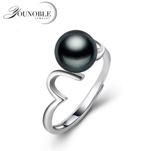 925 silver wave ring women party gift,real white black natural freshwater pearl