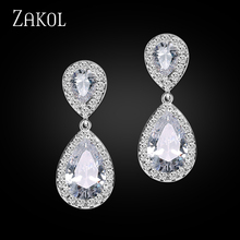 ZAKOL Nickle Free Women New Fashion Classic Style Water Drop Crystal Zirconia Drop Bridal Earrings FSEP091