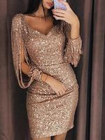 Sexy Tassels Detail Sequin Party Dress Women Slit Sleeve Sparkly Mini Dress Autumn Long Sleeve V neck Club Dress Vestidos 2018