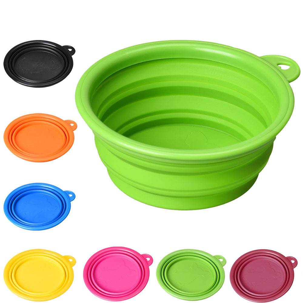 A Multi-purpose Dog Cat Pet Silicone Collapsible Travel Feeding Bowl Water Dish Feeder Flexible Telescopic Hot Puppy Feeding*5