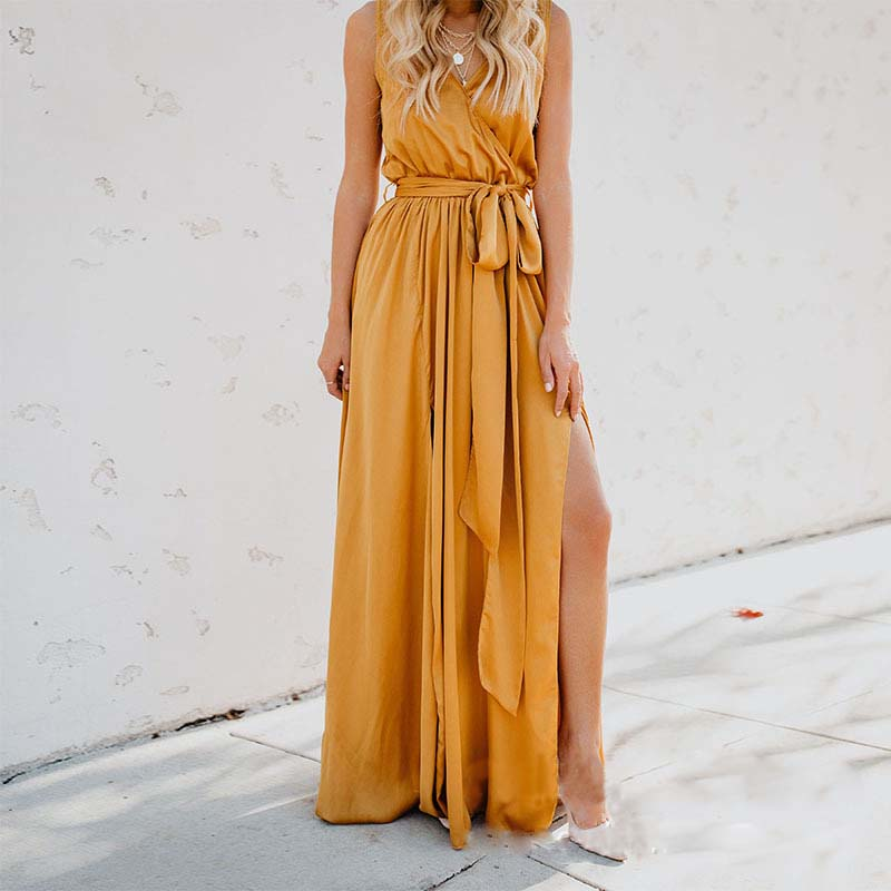 ZOGAA Yellow Dress Long Maxi Dress Sleeveless Split Lace Up V-Neck Party Dresses 2019 Elegant Boho Dress For Women Plus Size