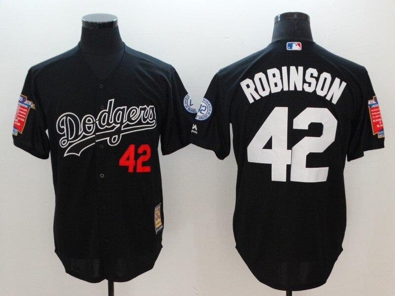 Прошитой MLB мужская Лос-Анджелес Доджерс Джеки Робинсон Трикотажные Изделия бейсбола