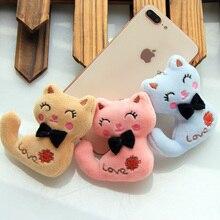 Boyutu 8CM YENI Kedi Yay Ile Peluş Hayvan Dolması Kitty Kedi anahtarlık Oyuncak Çocuklar Parti peluş oyuncak Buket peluş Bebek