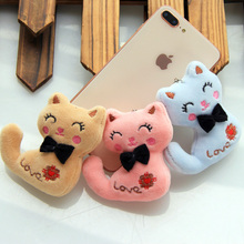 Size 8CM NEW Cat With Bow Plush Animal Stuffed Cat Key chain Toy Kids Party Plush Toy Bouquet Plush Dolls