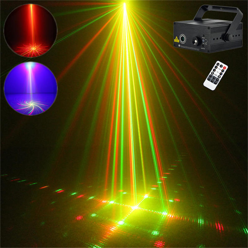 Hot 9 Big Patterns RG Laser Projector Stage Equipment Lights 3W Blue LED Mixing Effect DJ