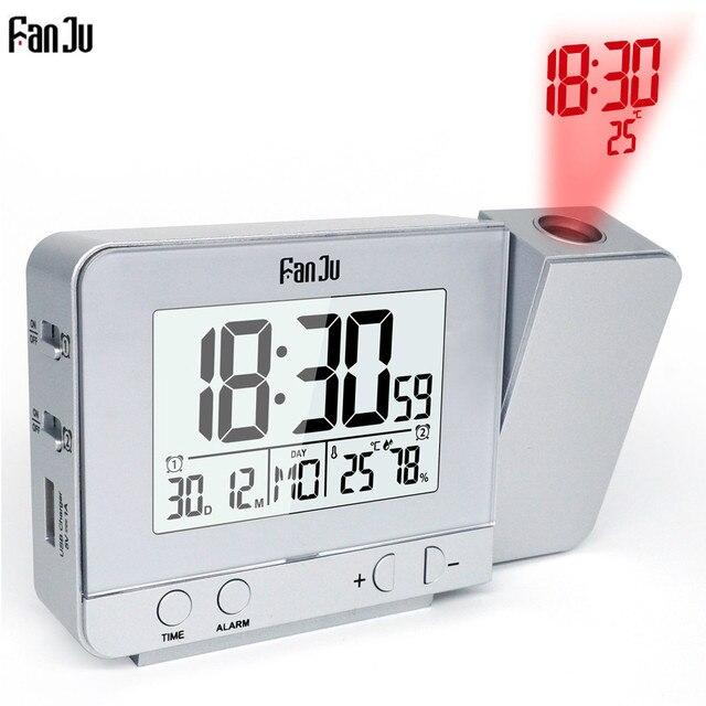 Fanju FJ3531 Chiếu Đồng Hồ Báo Thức Kỹ Thuật Số Ngày Snooze Chức Năng Đèn Nền Xoay Thức Dậy Chiếu Đa Chức Năng Led Đồng Hồ