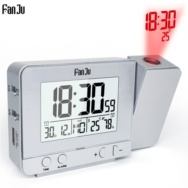 Fanju FJ3531 Função Snooze Projection Alarm Clock Digital Data Backlight Rotatable Wake Up Projetor Multifuncional Levaram Relógio