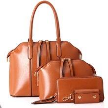 New Arrival Wax oiled Composite leather Bag Women Handbag Shoulder Crossbody Bag Handbag+Messenger Bag+Purse+Wallet 4 sets CP02