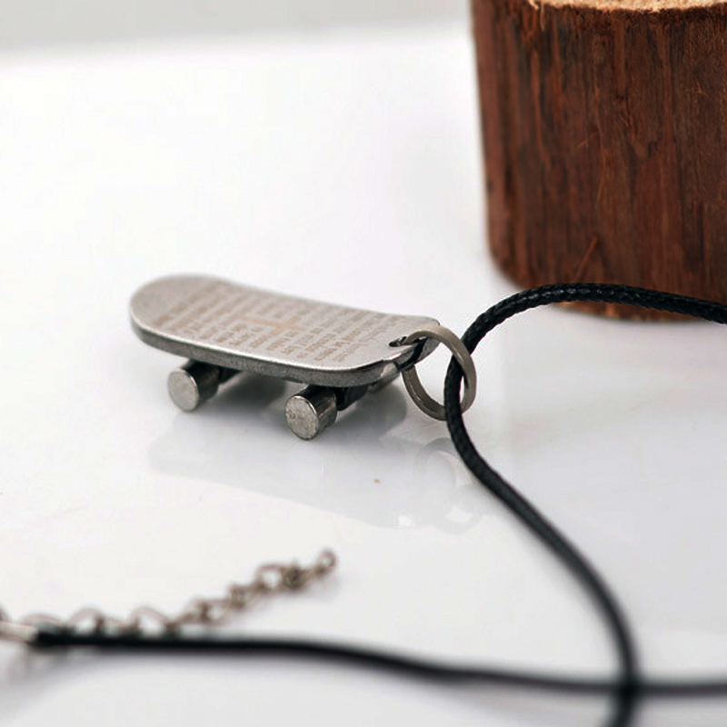 Black Blue Skateboard Pendant Necklace Bible Cross Pendant