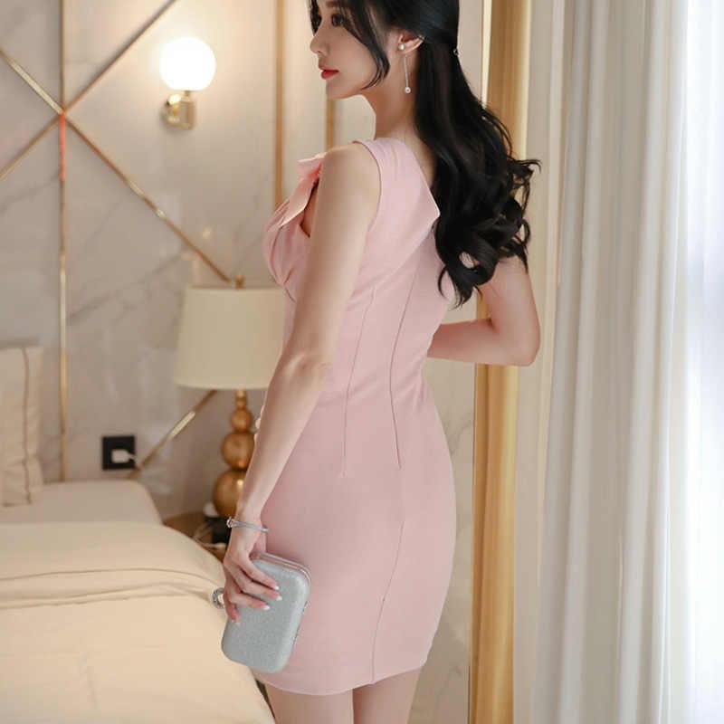 Розовое летнее офисное женское платье 2019 без рукавов с бантом маленькое сексуальное с v-образным вырезом удобное простое облегающее мини элегантное вечернее платье для женщин