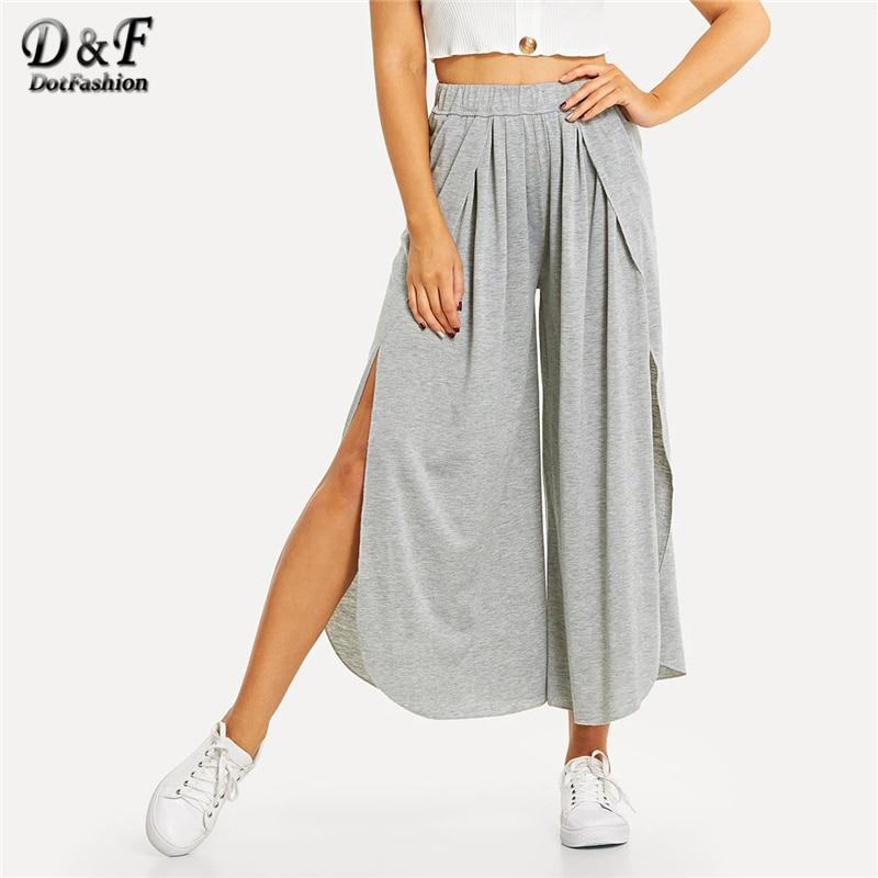 Dotfashion Grey Solid Elastic Waist Split   Wide     Leg     Pants   Women 2019 Summer Sexy   Pants   Spring Ladies Korean Fashion Trousers