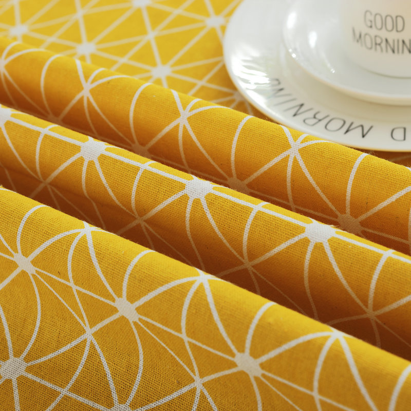 Cotton Plaid Table Cloth White Black Grey Yellow Table Cover ...
