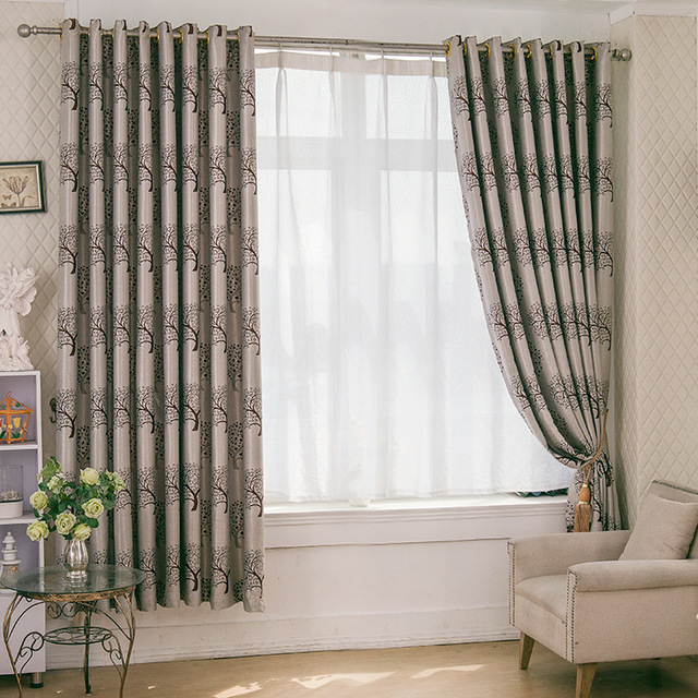Iinen Cotton Curtains Mediterranean Drapes Punching Style Shading Rate 90%  Window Curtain For Bedroom