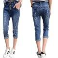 Denim Slim Ripped Skinny Harem Pants Crop Jeans Bottoms Trousers Summer Pants Women Capris Hole Blue Ladies 3/4 Jeans