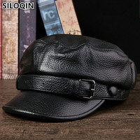 SILOQIN Genuine Leather Hat Elegant Cowhide Leather Military Hats For Men Women Autumn Winter High Quality Brands Warm Flat Cap