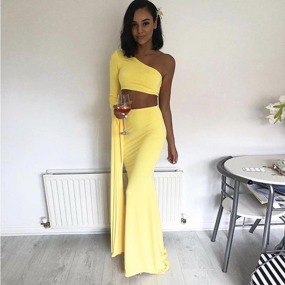 Celebrity Party Two Piece Set Women One Shoulder Sexy Crop Tops Floor Length Mermaid Bodycon Maxi Skirt Elegant 2 Ps Suit Solid