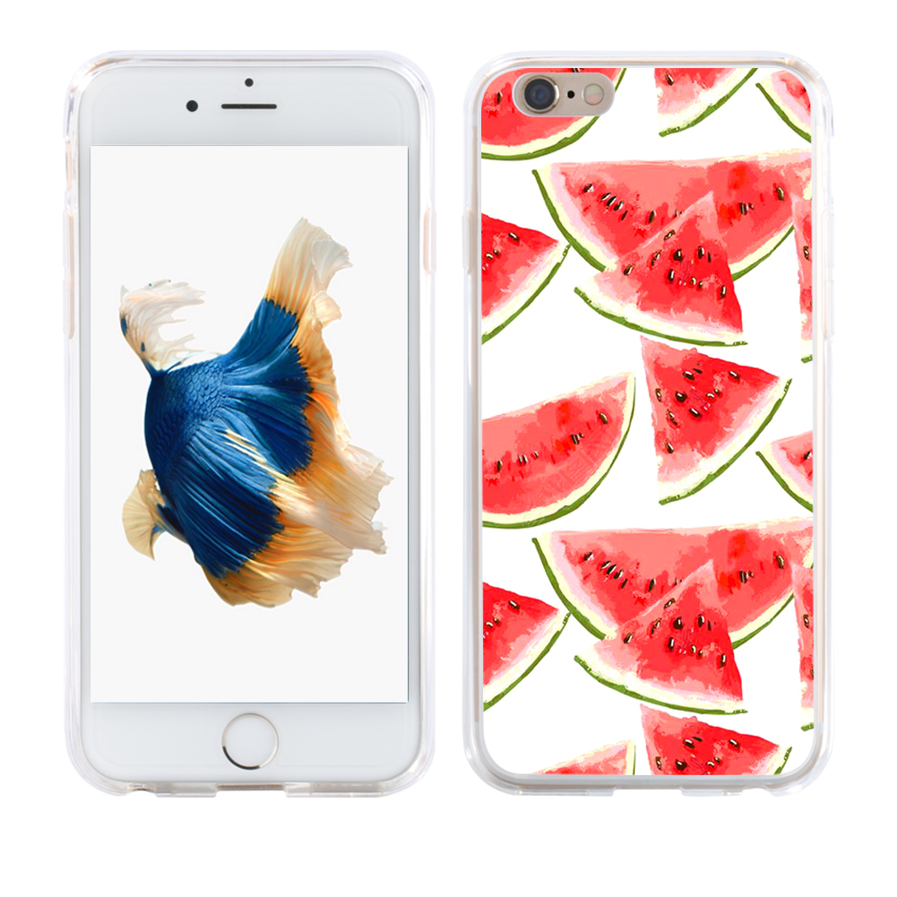 Watermelon Print Phone Case Cover for iPhone 7 8 X for Samsung S6 S7 for Huawei P9 Plus -in Half