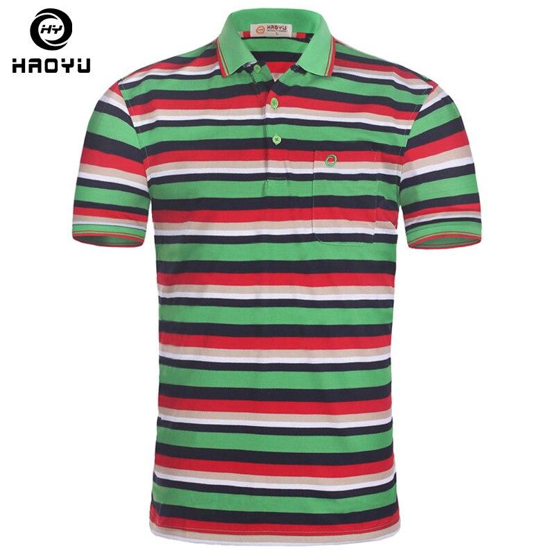 91b158a141 Camisa Polo Mens Marcas de Polo Listrada Gola Redonda Manga Curta  Respirável Camisa Polo Ocasional Camisetas Marcas Top Qualidade Tamanho  Grande