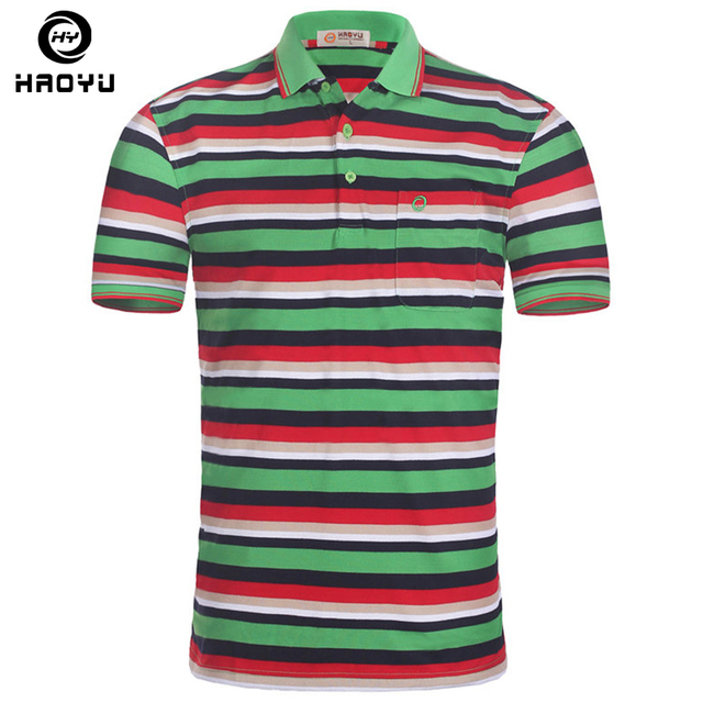 Mens Polo Shirt Brands Striped Polo Round Collar Short Sleeve Breathable Casual Polo Shirt Camisetas Brands Top Quality Big Size