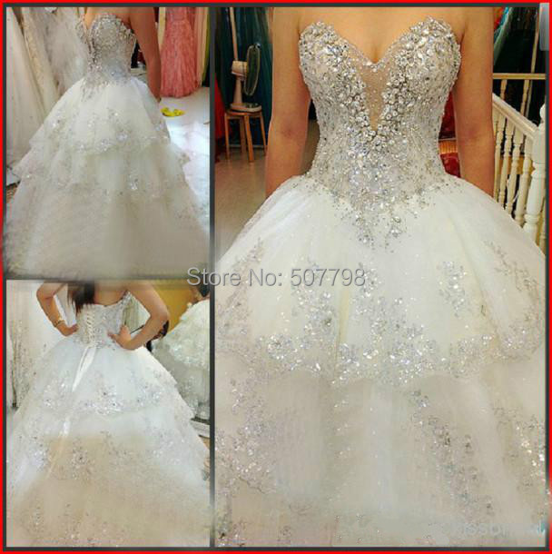 Real Sample Strapless Crystals White Ball Wedding Bridal Gown Dress Stone Vestidos De Novia 2016 In Dresses From Weddings Events On Aliexpress