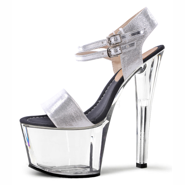 Sexy fashion sandals with the size of the crystal shoes handmade crystal high heels 17cm