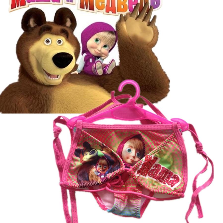 Anime Masha and bear Kids girl Masha Bikini Cosplay Costumes Child Drees Summer clothing Cartoon swimwear