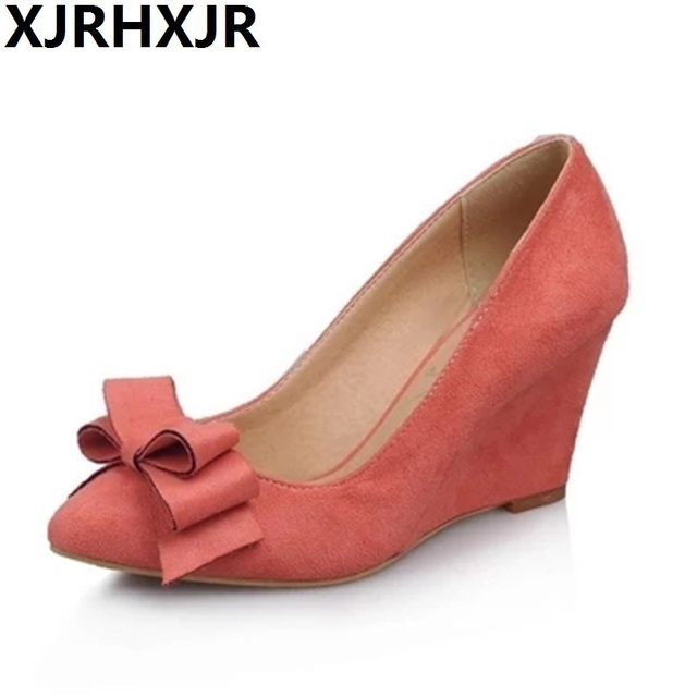 8f0b90eec64d3 US $26.51 49% OFF|Shoes Women Pumps Spring Pointed Toe High Heels Ladies  Shoes Wedge Heels Bow Wedges Wine Pink Big Size 34 43-in Women's Pumps from  ...