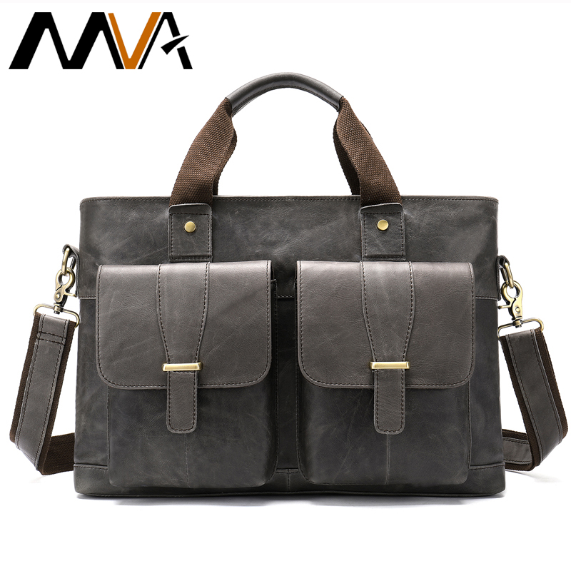 Men Genuine Leather Business Bag Briefcase Men Leather Messenger Bags for Laptop Vintage Office Male Briefcases