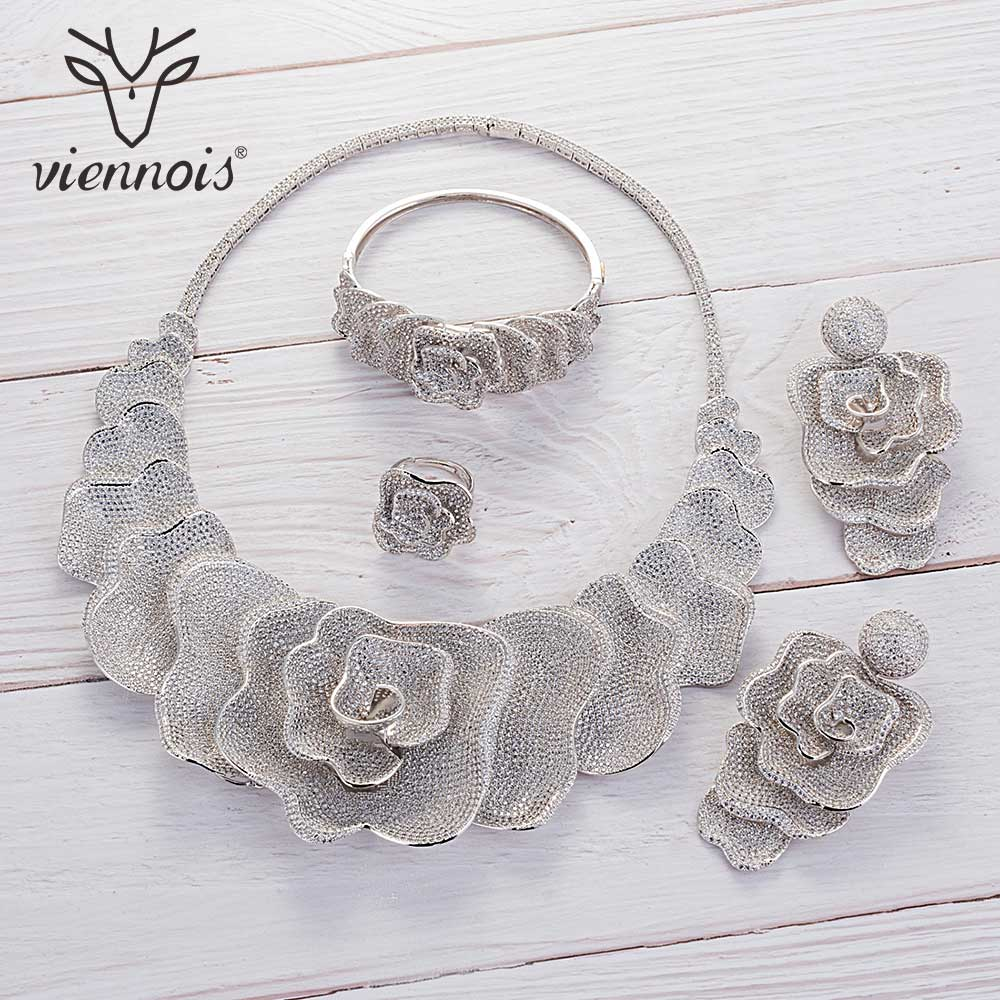 Image 5 - Viennois Gold / Silver / Mixed Color Necklace Set For Women Flower Dangle Earrings Ring Bracelet Set Party Jewelry Set 2019-in Jewelry Sets from Jewelry & Accessories