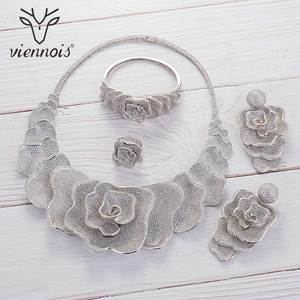 Image 5 - Viennois Gold / Silver / Mixed Color Necklace Set For Women Flower Dangle Earrings Ring Bracelet Set Party Jewelry Set 2019