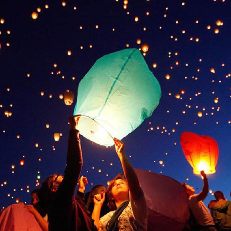 7 pcs chinois papier sky lanternes volantes souhaitant lanterne lampe bougie pour lanniversaire d - Lanterne Volante Mariage