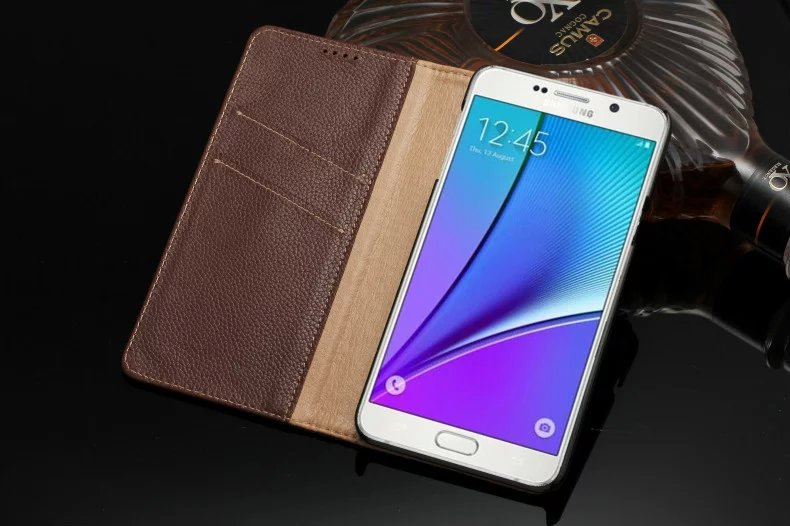 brown color genuine leather card slot case for Samsung Galaxy Note5 cell phone