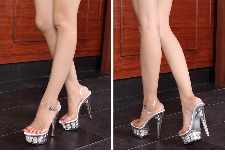 dde7c25a126 15 cm large size transparent soles high heels thick platform rose woman  cool sandals 4.5 12-in High Heels from Shoes on Aliexpress.com