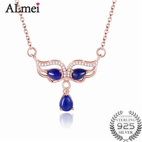 Almei 1 2ct Lapis Pendant Necklaces Solid 925 Sterling Silver Rose Gold Plated Bridal Wedding Diamond