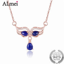 Almei Women 1.2ct Dark Blue Lapis Masquerade Mask Prom Dancing Pendant Necklace 925 Sterling Silver Jewelry with Box 40% FN052