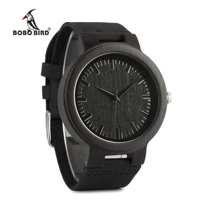 Image 3 - בובו ציפור WC27 גברים של עיצוב מותג יוקרה עץ במבוק שעונים עם עור אמיתי קוורץ שעון ב אריזת מתנה מקבלים oem אישית