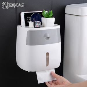 Free shipping Waterproof Wall Mount Toilet Paper Holder Shelf Toilet Paper Tray Roll Paper Tube Storage Box Creative Tray(China)