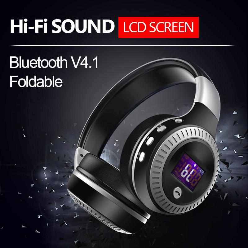 B19 LCD Display HiFi Bass Stereo Bluetooth Headphone Wireless Headset DJ Headset With Mic,FM Radio,Micro-SD Card Slot hifi deep bass wireless stereo bluetooth headphone noise cancelling headset with mic support tf card fm radio