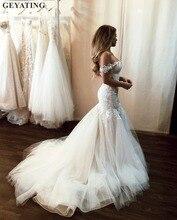 Кружевное винтажное платье с открытой спинкой, кружевное платье Русалочка с плеча, иллюзионная аппликация, Тюлевое платье корт, свадебное платье, 2020