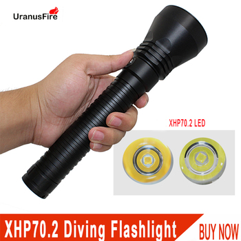 Uranusfire  xhp70.2 diving flashlight 5000 Lumens LED 26650 battery  underwater light waterproof lamp new version of xhp70