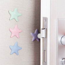 2PCS Wall Thickening Mute Fenders Door Wall Stick Starfish Modelling Rubber Handle Door Lock Protective Pad Home Wall Stickers tanie tanio cartoon For Wall Furniture Stickers For Refrigerator For Tile 3D Sticker FZD-B PATTERN